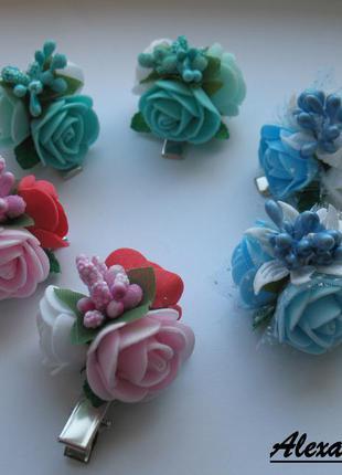 Заколки букетики с розами