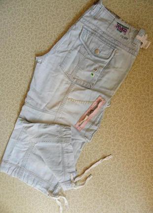 Модные бойфренды джинс рванки бриджи капри шорты 50р об 114-116см