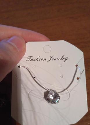 Скидка!новый камушек,цирконий на леске,ожерелье невидимое серебро,кулон,подвеска,микродерм4
