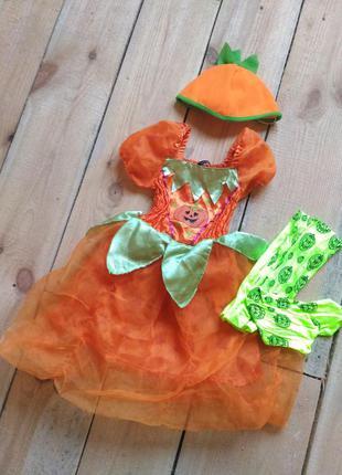 Карнавальный костюм тыква тыковка 3 4 года на хэллоуин с колготками