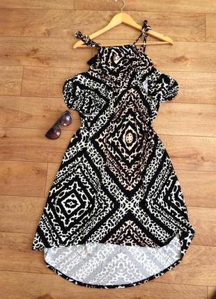 Платье с воланами на груди макси в пол леопардовое