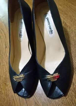 Pierre cardin кожа туфли с открытым носочком