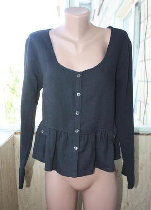 Красивая блуза рубашка с баской льняная 30% лён