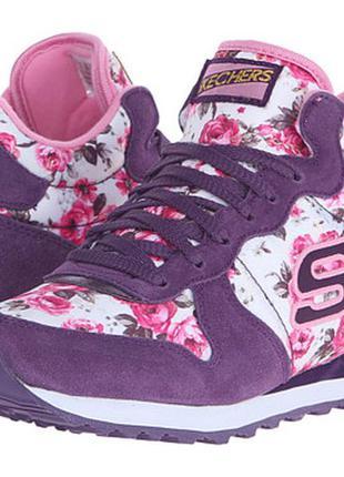 Skechers og 92 flowers скечерсы фиолетовые спортивные кроссовки