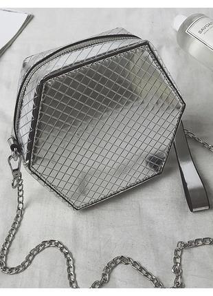 Серая серебристая сумка клатч на цепочке, бесплатная доставка