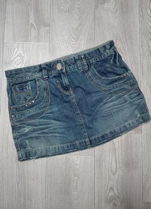 Джинсовая модная мини юбка