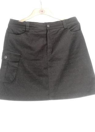 Черная катоновая юбка с карманами, 2xl.