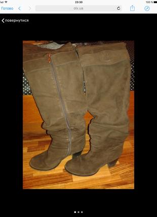 Замшевые коричневые ботфорты
