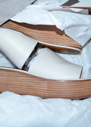 Сабо sarto cандали кожаные на платформе, танкетке белые босоножки без задников размер 37,5