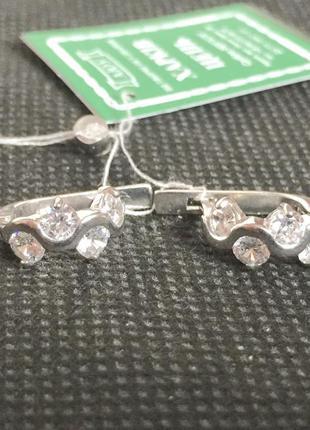 Новые серебряные серьги с куб.цирконием серебро 925 пробы