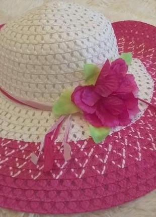 Эффектная соломенная панама, шляпа с полями летняя h&m германия, новая яркая