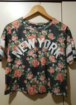 Топ в цветочный принт new york