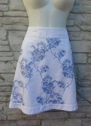 Распродажа!!! шикарная, льняная юбка с вышивкой peacocks