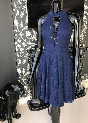 Платье кружевное/ платье синее