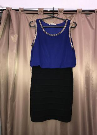 Платье синее с бандажной юбкой