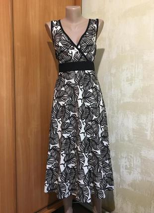 Красивое платье миди в принт,100%хлопок.