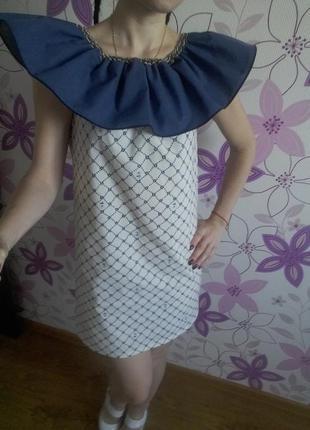 Хлопковое платье с воланом