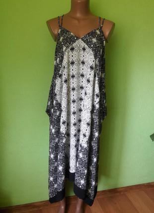 Асимметричное платье сарафан свободного кроя