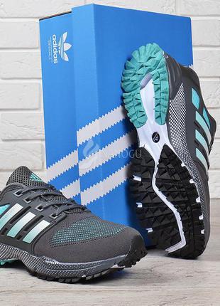 Кроссовки мужские adidas marathon tr 21 текстильные серые с зеленым распродажа склада