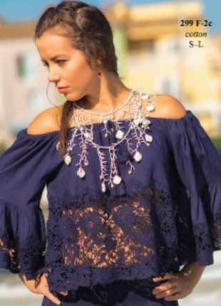 Шикарная кружевная блузка indiano, fresh-cotton 299