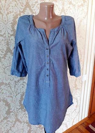100% котон натуральная лёгкая джинсовая рубашка