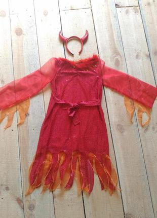 Карнавальный костюм чертовка дьяволица 8 9 10 лет на хэллоуин продажа
