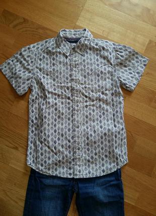 Стильная трендовая шведка рубашка с коротким рукавом bhs 9-10  и 11-12 лет