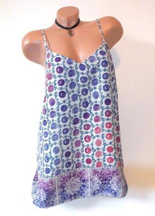 Свободный шифоновый топ с принтом летний легкий майка блуза