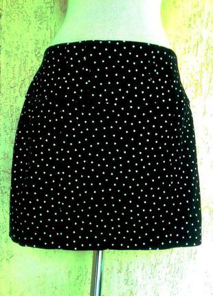 Черная катоновая юбка в белые сердечки, l/ river island.3 фото