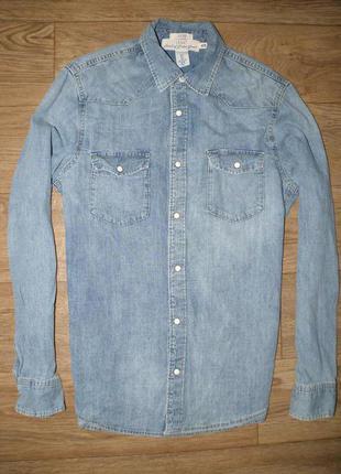 Стильная джинсовая рубаха на заклёпках от h&m fitted