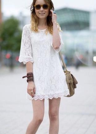 Легкое короткое белое платье h&m