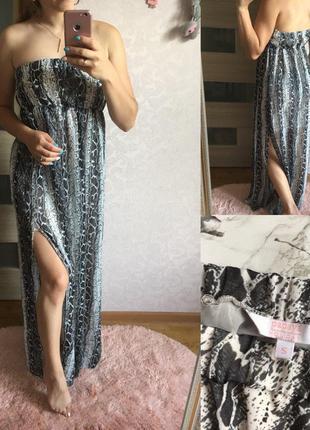 Летнее платье в змеиный принт с двумя разрезами по боках papaya размер: s