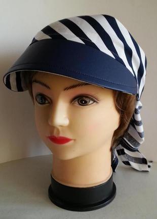 Бандана  женская. штапель сине - белая полоска.  ручная работа. цена: 135 гр.