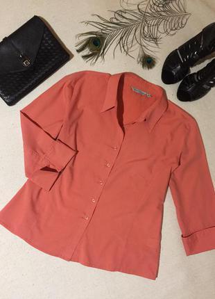 Коралловая рубашка блуза кораллового цвета