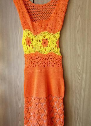 Вязаное кружевное платье, размер xs