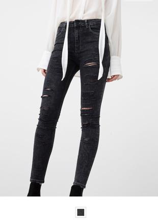 Новые джинсы рваные потертые скини высокая талия посадка skinny mango