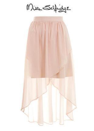 Нюдовая шифоновая юбка с шлейфом