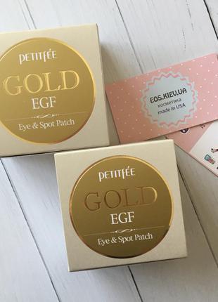Патчи гидрогелевые для глаз с золотом petitfee gold & egf eye & spot patch