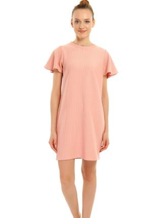 Трендовое розовое/пудровое платье в рубчик