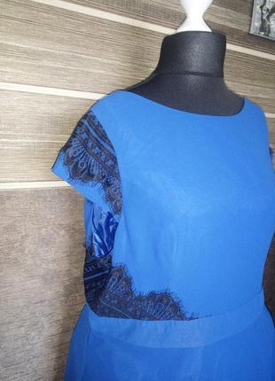 Синее платье simplybe с черным ажурным кружевом