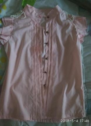 Блузка волан рюши цвет пудры