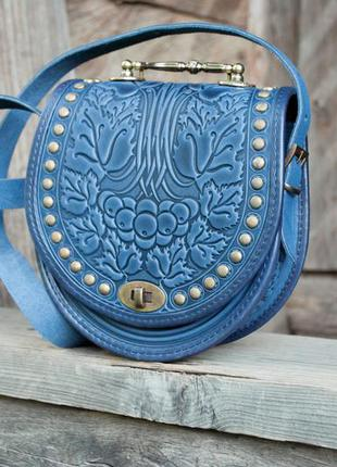 d76e73c4a8c4 Сумка кожаная женская светло-синяя бохо Ручная Работа, цена - 1450 ...