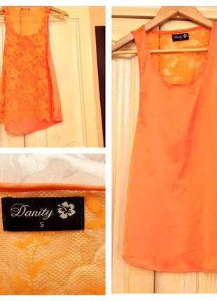 Оранжевая летняя блуза майка топ danity 38-40/8-10/s-m состояние новой