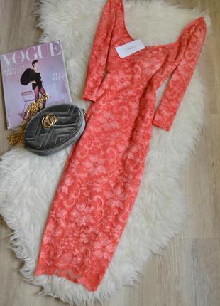 Новое кружевное миди платье кораллового цвета  new look