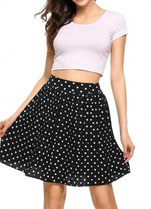 Черная юбка в белый горох в складку,s - l /  на рост 158-164см .