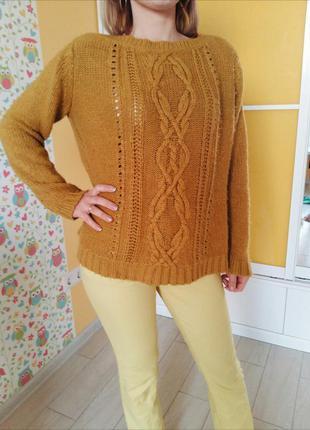Горчичный теплый свитер yessica