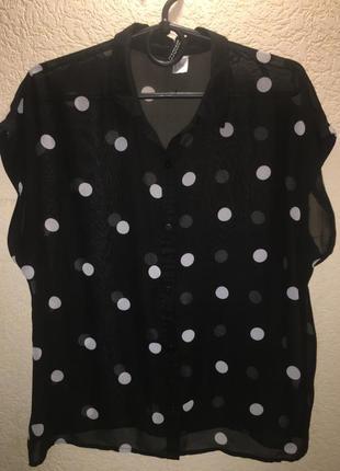 Актуальная блуза в крупный горох черная h&m