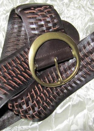Ремень пояс широкий плетеный кожаный gap (l)