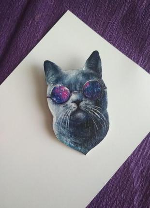 Брошь из полимерной глины, кот, космический кот