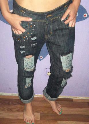 Фирменные рваные джинсы бойфренды lee с камнями